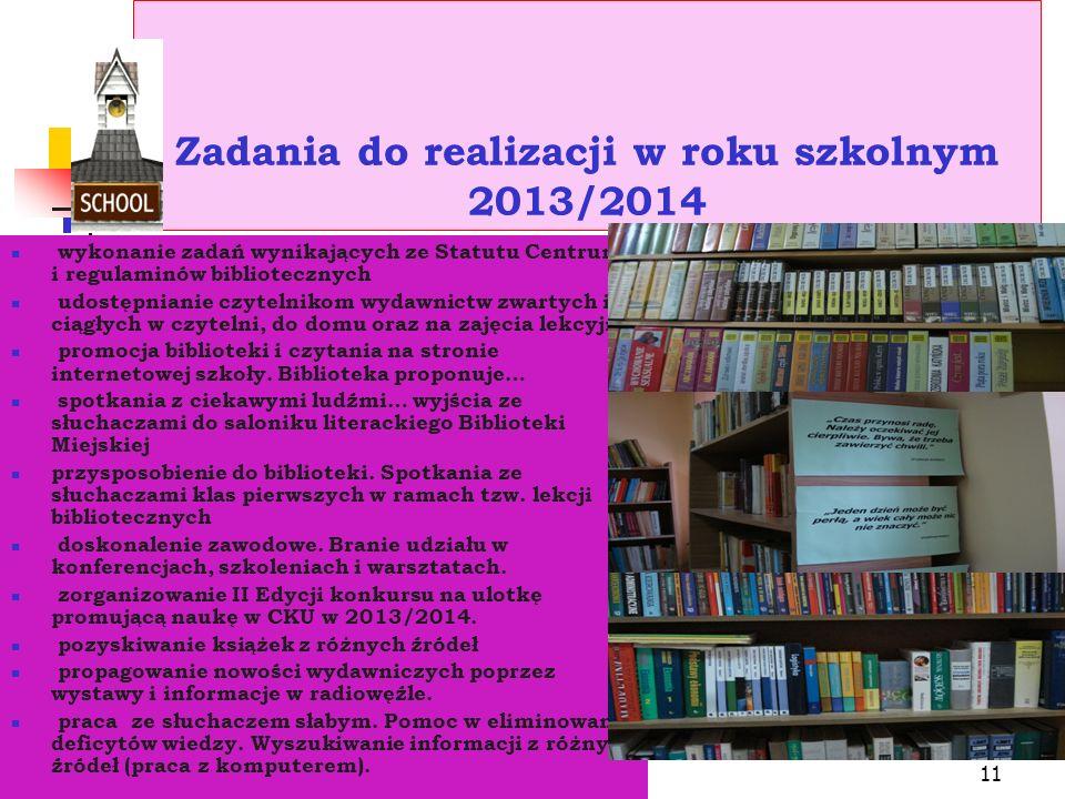 10 Działalność pedagogiczna: -Współpraca ze środowiskiem szkolnym -Wizualna propaganda książki, czytelnictwa i biblioteki.