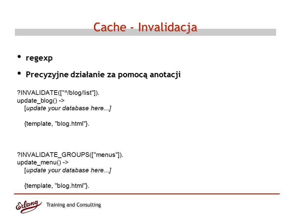 Cache - Invalidacja regexp regexp Precyzyjne działanie za pomocą anotacji Precyzyjne działanie za pomocą anotacji INVALIDATE([ ^/blog/list ]).