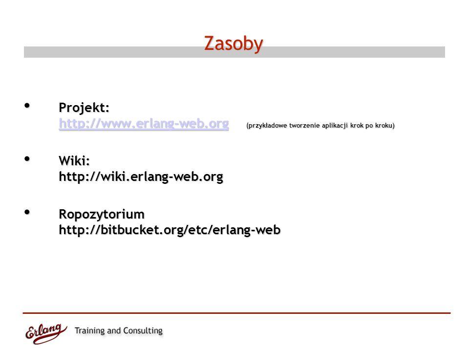 Zasoby Projekt: http://www.erlang-web.org (przykładowe tworzenie aplikacji krok po kroku) Projekt: http://www.erlang-web.org (przykładowe tworzenie aplikacji krok po kroku) http://www.erlang-web.org Wiki: http://wiki.erlang-web.org Wiki: http://wiki.erlang-web.org Ropozytorium http://bitbucket.org/etc/erlang-web Ropozytorium http://bitbucket.org/etc/erlang-web