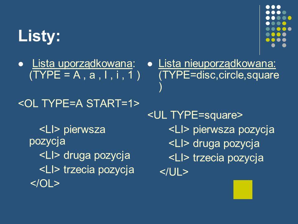 Listy: Lista uporządkowana: (TYPE = A, a, I, i, 1 ) pierwsza pozycja druga pozycja trzecia pozycja Lista nieuporządkowana: (TYPE=disc,circle,square ) pierwsza pozycja druga pozycja trzecia pozycja