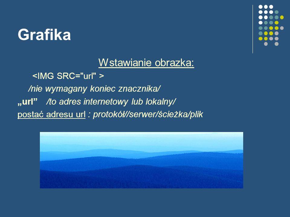 Grafika Wstawianie obrazka: /nie wymagany koniec znacznika/ url/to adres internetowy lub lokalny/ postać adresu url : protokół//serwer/ścieżka/plik
