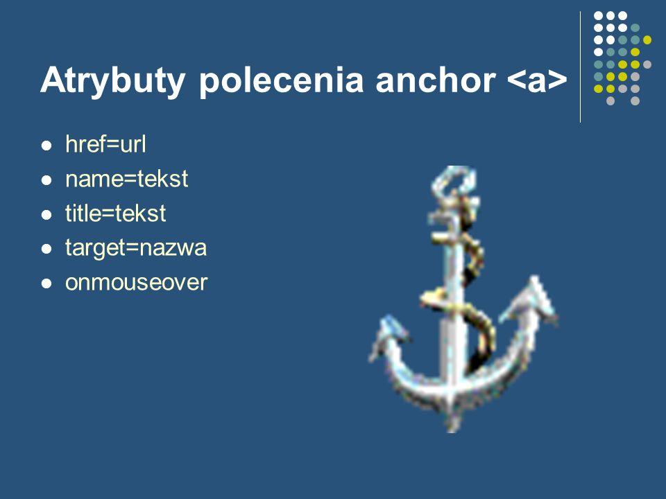 Atrybuty polecenia anchor href=url name=tekst title=tekst target=nazwa onmouseover