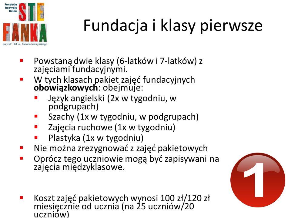 Fundacja i klasy pierwsze Powstaną dwie klasy (6-latków i 7-latków) z zajęciami fundacyjnymi.