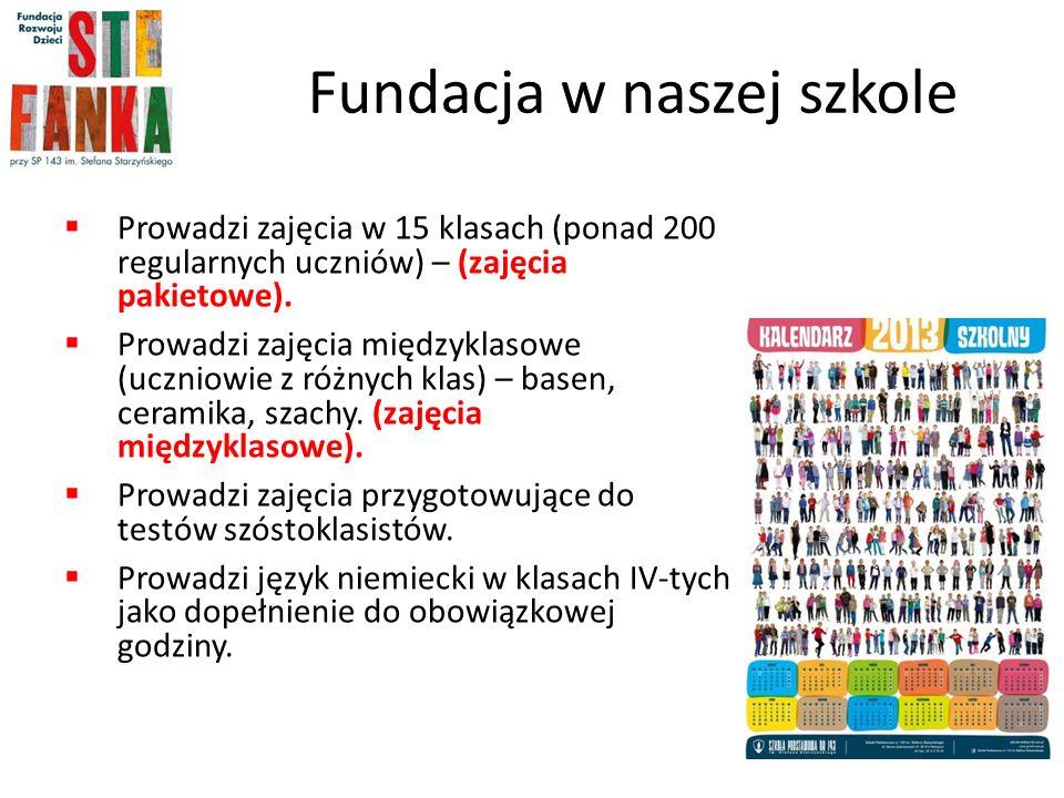 Fundacja w naszej szkole Prowadzi zajęcia w 15 klasach (ponad 200 regularnych uczniów) – (zajęcia pakietowe).