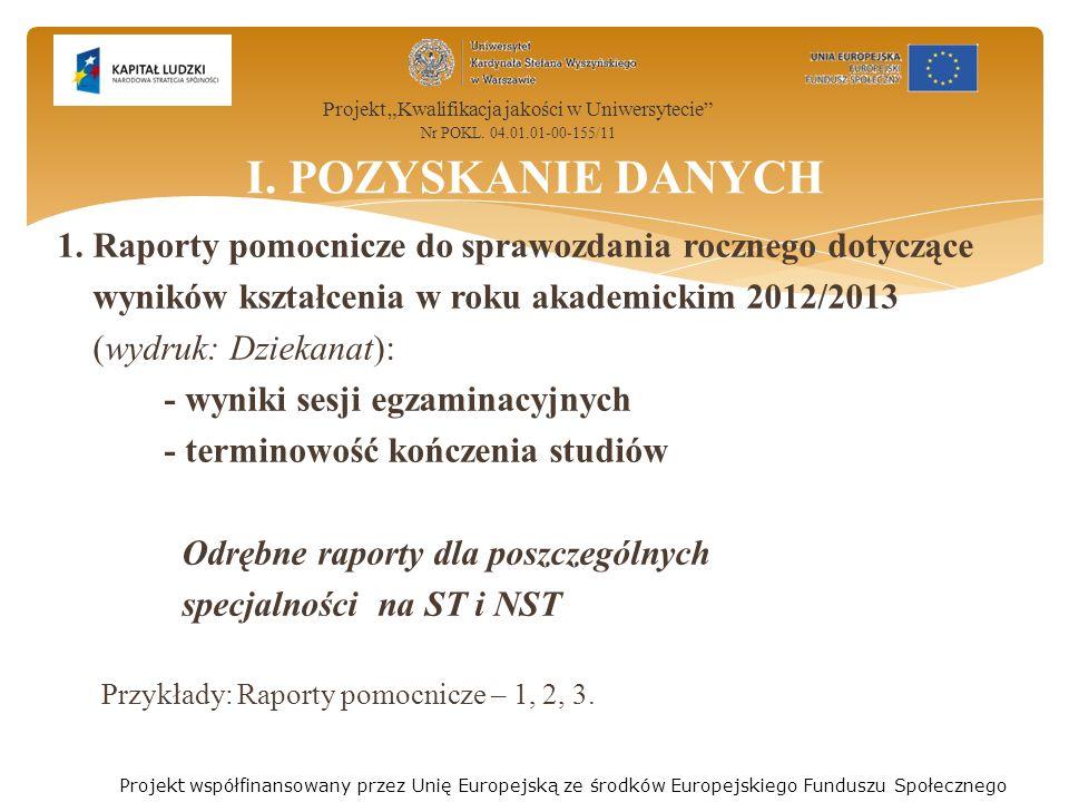 1. Raporty pomocnicze do sprawozdania rocznego dotyczące wyników kształcenia w roku akademickim 2012/2013 (wydruk: Dziekanat): - wyniki sesji egzamina