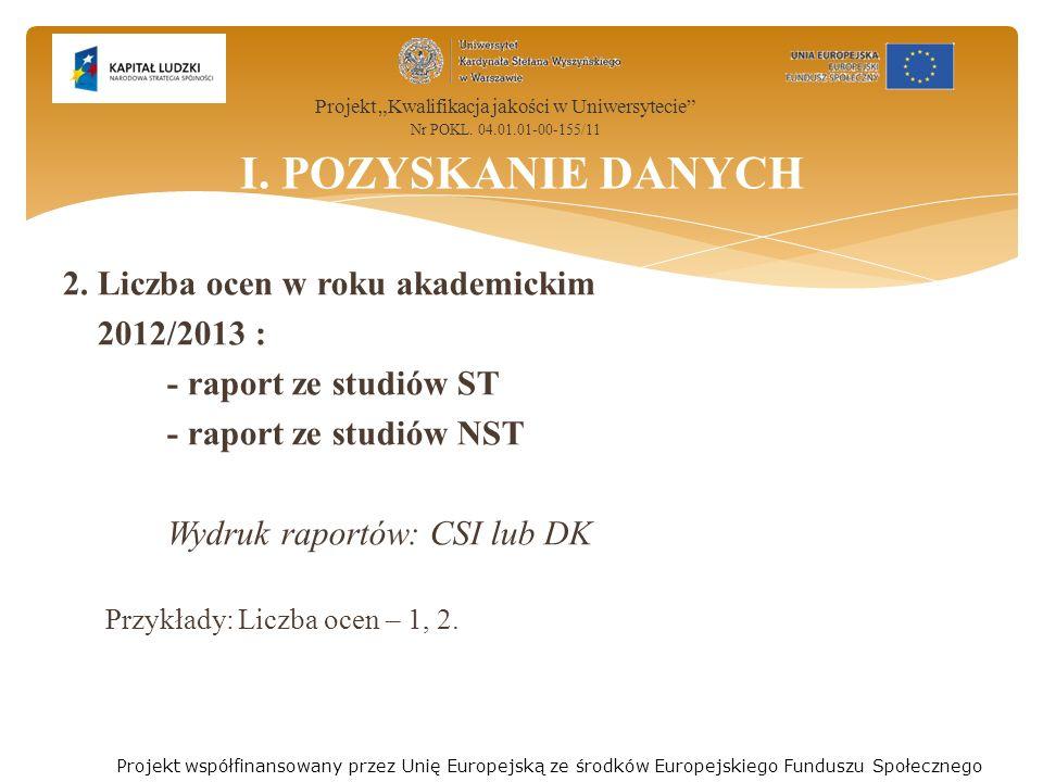 2. Liczba ocen w roku akademickim 2012/2013 : - raport ze studiów ST - raport ze studiów NST Wydruk raportów: CSI lub DK Przykłady: Liczba ocen – 1, 2