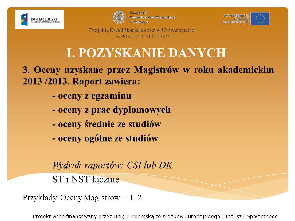 I. POZYSKANIE DANYCH 3. Oceny uzyskane przez Magistrów w roku akademickim 2013 /2013.