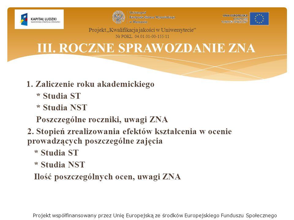 1. Zaliczenie roku akademickiego * Studia ST * Studia NST Poszczególne roczniki, uwagi ZNA 2.