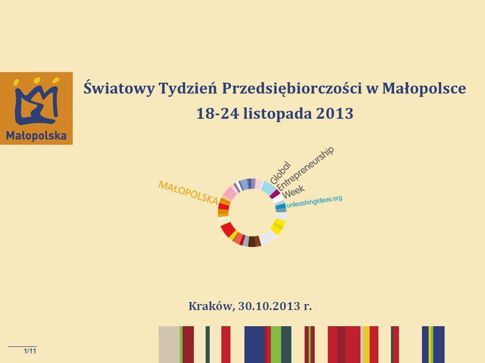 1/11 Światowy Tydzień Przedsiębiorczości w Małopolsce 18-24 listopada 2013 Kraków, 30.10.2013 r.
