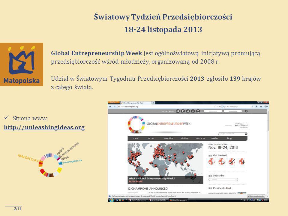 2/11 Global Entrepreneurship Week jest ogólnoświatową inicjatywą promującą przedsiębiorczość wśród młodzieży, organizowaną od 2008 r.