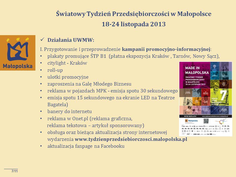 7/11 Światowy Tydzień Przedsiębiorczości w Małopolsce 18-24 listopada 2013 Działania UWMW: I.