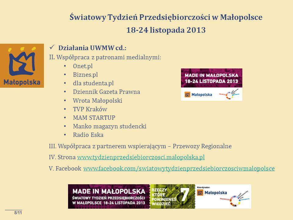8/11 Światowy Tydzień Przedsiębiorczości w Małopolsce 18-24 listopada 2013 Działania UWMW cd.: II.