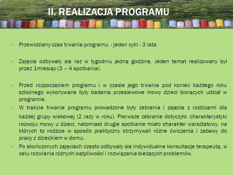II.REALIZACJA PROGRAMU Przewidziany czas trwania programu - jeden cykl - 3 lata.