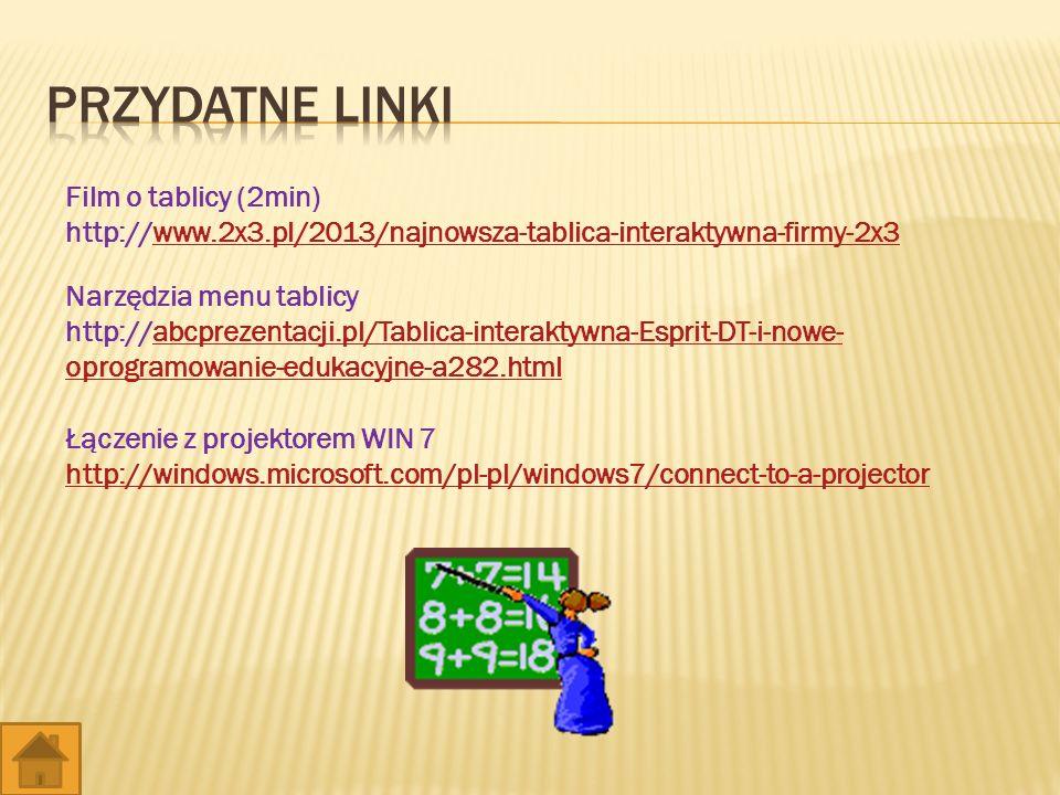 Film o tablicy (2min) http://www.2x3.pl/2013/najnowsza-tablica-interaktywna-firmy-2x3www.2x3.pl/2013/najnowsza-tablica-interaktywna-firmy-2x3 Narzędzia menu tablicy http://abcprezentacji.pl/Tablica-interaktywna-Esprit-DT-i-nowe- oprogramowanie-edukacyjne-a282.htmlabcprezentacji.pl/Tablica-interaktywna-Esprit-DT-i-nowe- oprogramowanie-edukacyjne-a282.html Łączenie z projektorem WIN 7 http://windows.microsoft.com/pl-pl/windows7/connect-to-a-projector
