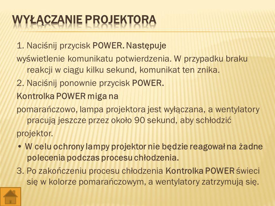 1. Naciśnij przycisk POWER. Następuje wyświetlenie komunikatu potwierdzenia.