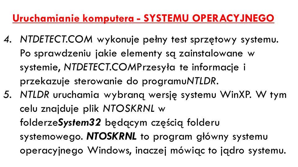 Uruchamianie komputera - SYSTEMU OPERACYJNEGO 4.NTDETECT.COM wykonuje pełny test sprzętowy systemu. Po sprawdzeniu jakie elementy są zainstalowane w s