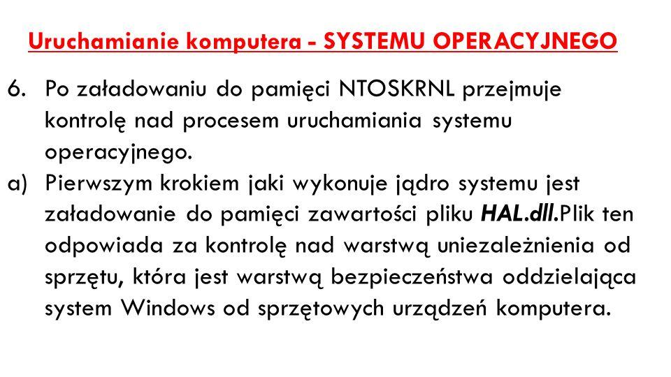 Uruchamianie komputera - SYSTEMU OPERACYJNEGO 6.Po załadowaniu do pamięci NTOSKRNL przejmuje kontrolę nad procesem uruchamiania systemu operacyjnego.