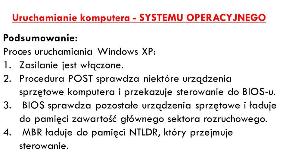 Uruchamianie komputera - SYSTEMU OPERACYJNEGO Podsumowanie: Proces uruchamiania Windows XP: 1.Zasilanie jest włączone. 2.Procedura POST sprawdza niekt