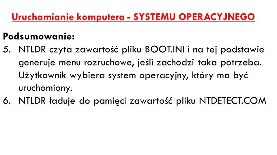 Uruchamianie komputera - SYSTEMU OPERACYJNEGO Podsumowanie: 5.NTLDR czyta zawartość pliku BOOT.INI i na tej podstawie generuje menu rozruchowe, jeśli