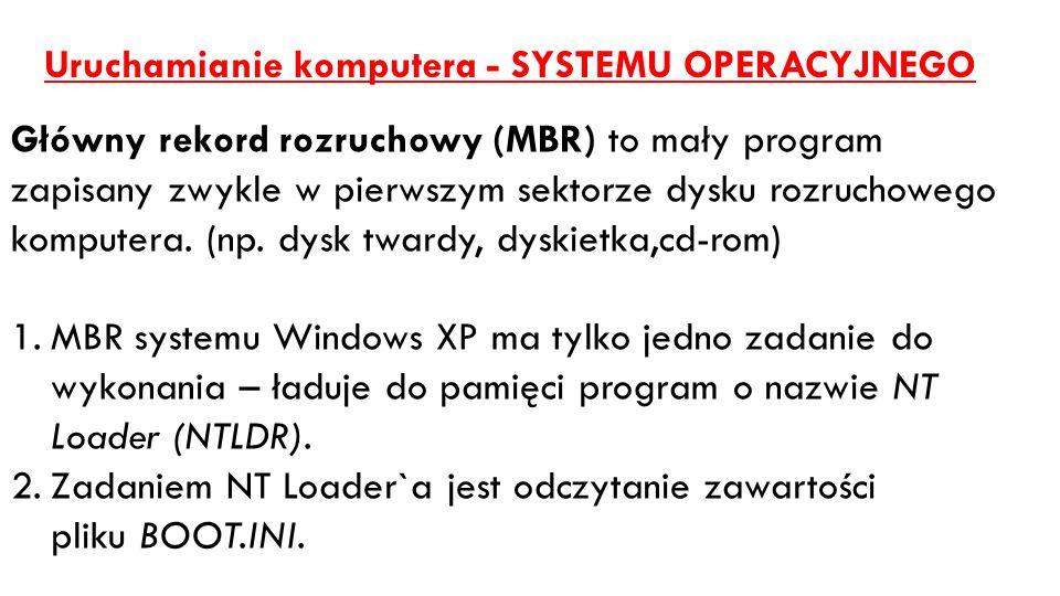 Uruchamianie komputera - SYSTEMU OPERACYJNEGO Główny rekord rozruchowy (MBR) to mały program zapisany zwykle w pierwszym sektorze dysku rozruchowego k