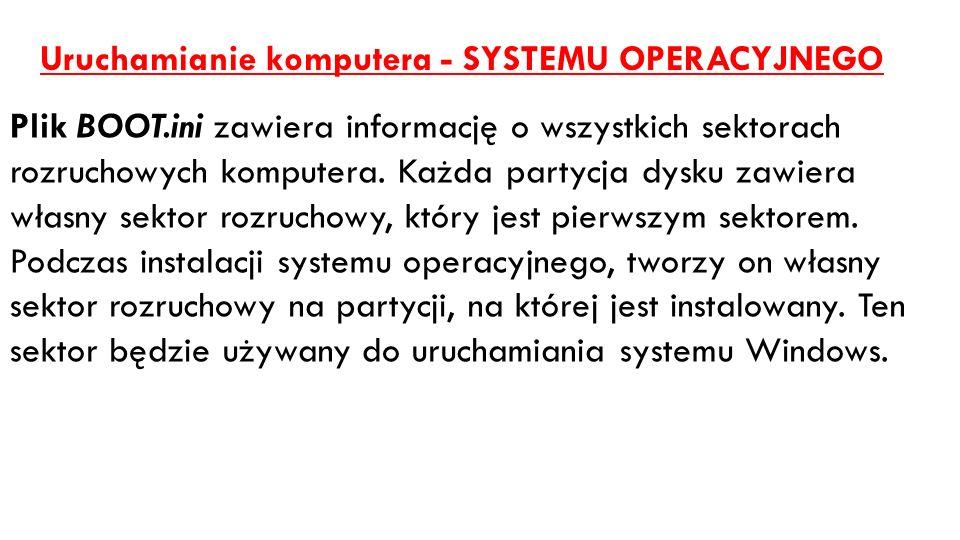 Uruchamianie komputera - SYSTEMU OPERACYJNEGO Plik BOOT.ini zawiera informację o wszystkich sektorach rozruchowych komputera. Każda partycja dysku zaw