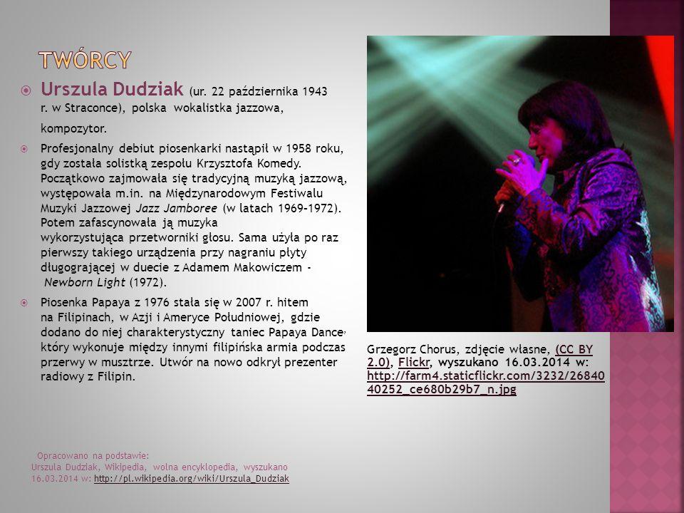 Grzegorz Chorus, zdjęcie własne, (CC BY 2.0), Flickr, wyszukano 16.03.2014 w: http://farm4.staticflickr.com/3232/26840 40252_ce680b29b7_n.jpg(CC BY 2.0)Flickr http://farm4.staticflickr.com/3232/26840 40252_ce680b29b7_n.jpg Urszula Dudziak (ur.