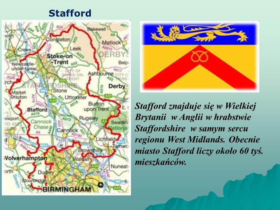 Stafford Stafford znajduje się w Wielkiej Brytanii w Anglii w hrabstwie Staffordshire w samym sercu regionu West Midlands.