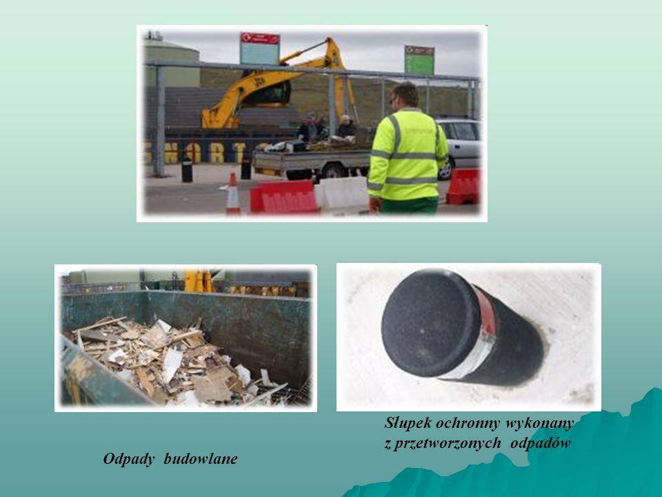 Słupek ochronny wykonany z przetworzonych odpadów Odpady budowlane