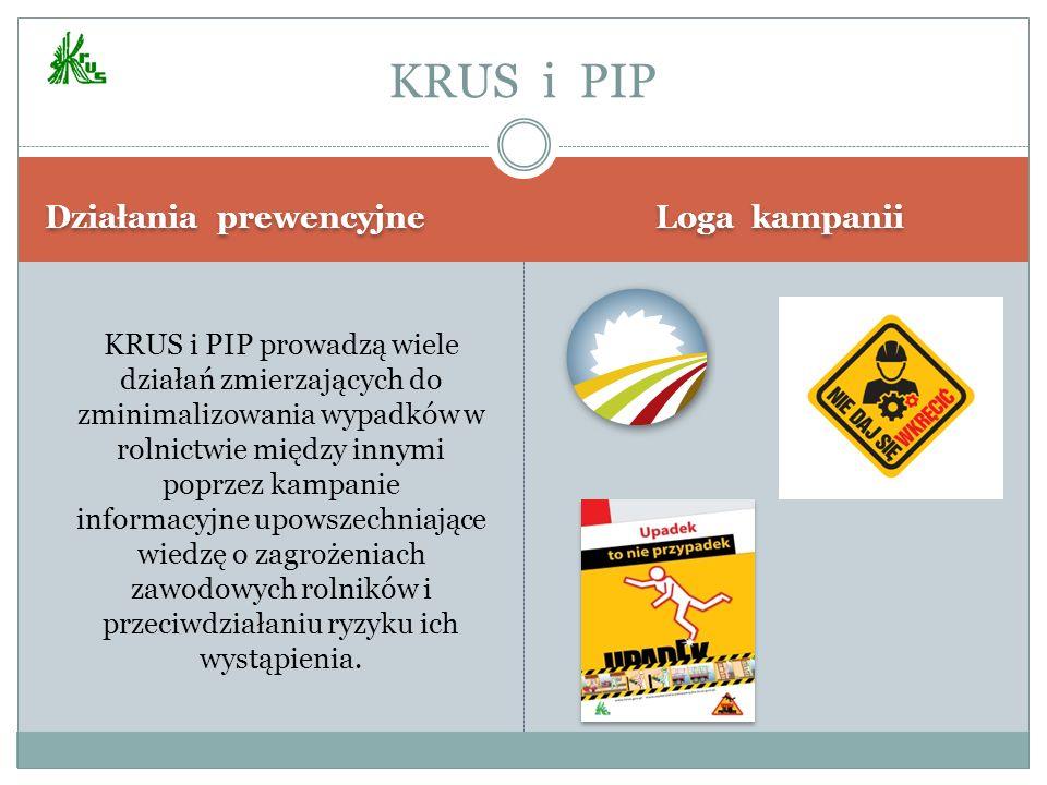 Działania prewencyjne Loga kampanii KRUS i PIP prowadzą wiele działań zmierzających do zminimalizowania wypadków w rolnictwie między innymi poprzez ka
