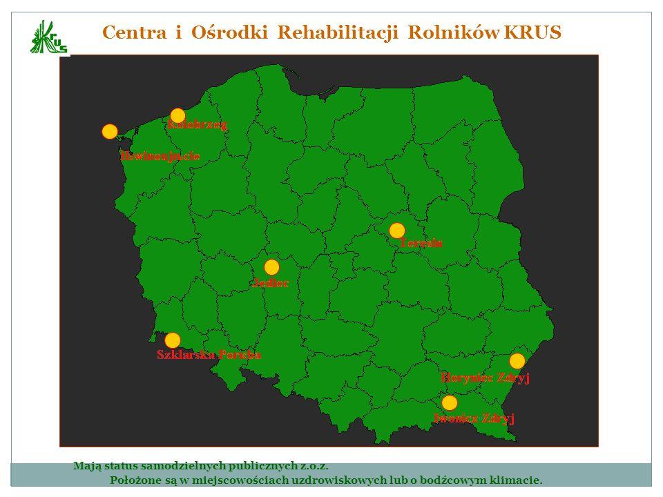Centra i Ośrodki Rehabilitacji Rolników KRUS Mają status samodzielnych publicznych z.o.z. Położone są w miejscowościach uzdrowiskowych lub o bodźcowym