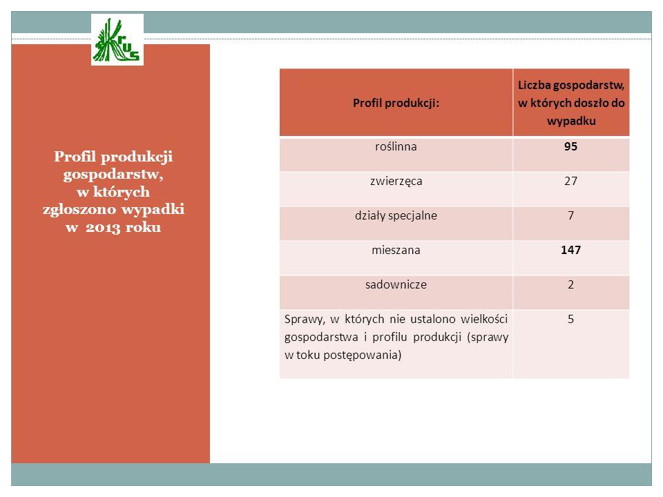 Profil produkcji gospodarstw, w których zgłoszono wypadki w 2013 roku Profil produkcji: Liczba gospodarstw, w których doszło do wypadku roślinna95 zwi