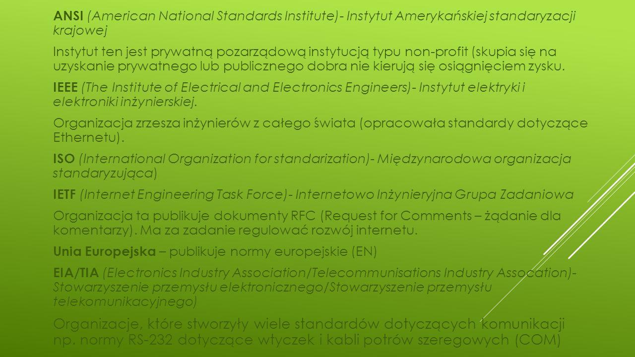 ANSI (American National Standards Institute)- Instytut Amerykańskiej standaryzacji krajowej Instytut ten jest prywatną pozarządową instytucją typu non-profit (skupia się na uzyskanie prywatnego lub publicznego dobra nie kierują się osiągnięciem zysku.