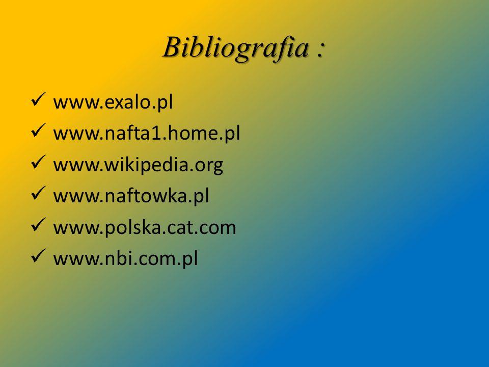 Bibliografia : www.exalo.pl www.nafta1.home.pl www.wikipedia.org www.naftowka.pl www.polska.cat.com www.nbi.com.pl