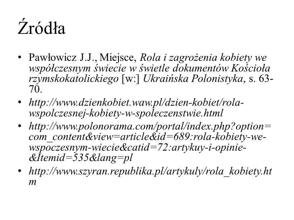 Źródła Pawłowicz J.J., Miejsce, Rola i zagrożenia kobiety we współczesnym świecie w świetle dokumentów Kościoła rzymskokatolickiego [w:] Ukraińska Pol