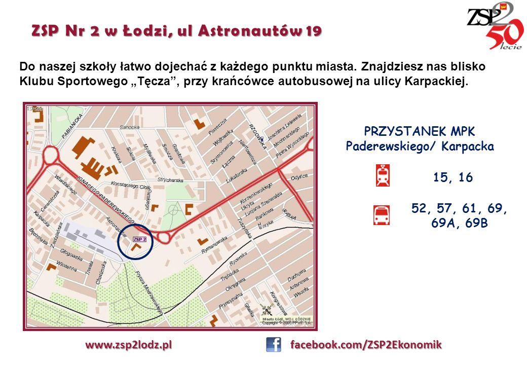 ZSP Nr 2 w Łodzi, ul Astronautów 19 www.zsp2lodz.pl facebook.com/ZSP2Ekonomik Do naszej szkoły łatwo dojechać z każdego punktu miasta. Znajdziesz nas