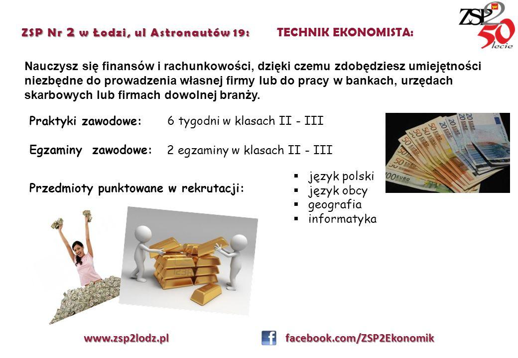 ZSP Nr 2 w Łodzi, ul Astronautów 19: ZSP Nr 2 w Łodzi, ul Astronautów 19: TECHNIK EKONOMISTA: Nauczysz się finansów i rachunkowości, dzięki czemu zdob