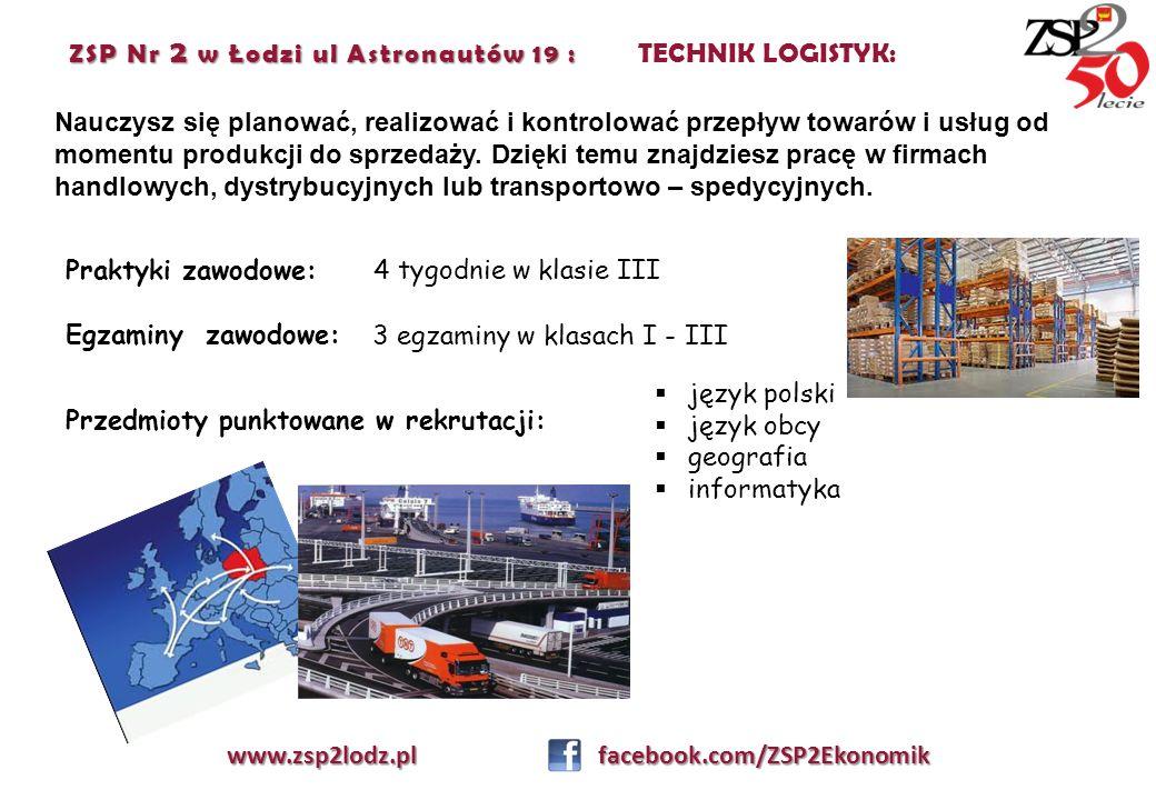 ZSP Nr 2 w Łodzi ul Astronautów 19 : ZSP Nr 2 w Łodzi ul Astronautów 19 : TECHNIK LOGISTYK: Nauczysz się planować, realizować i kontrolować przepływ t