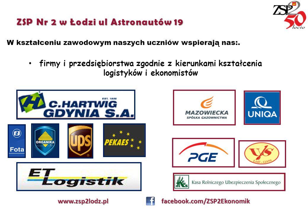 ZSP Nr 2 w Łodzi ul Astronautów 19 W kształceniu zawodowym naszych uczniów wspierają nas:. www.zsp2lodz.pl facebook.com/ZSP2Ekonomik firmy i przedsięb