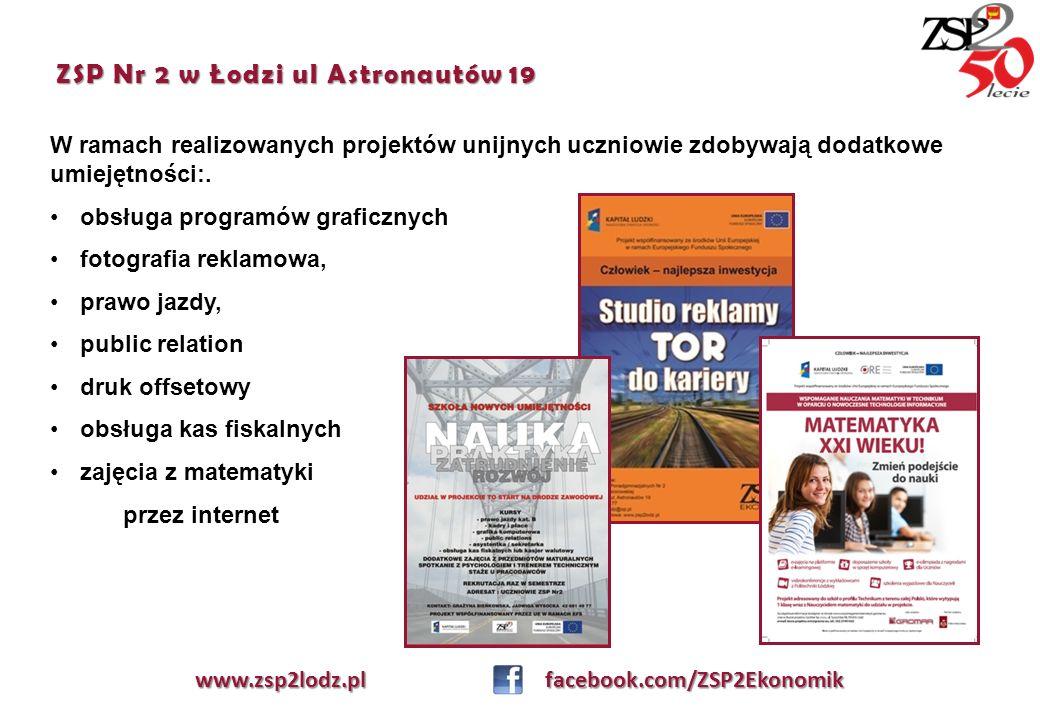 ZSP Nr 2 w Łodzi ul Astronautów 19 W ramach realizowanych projektów unijnych uczniowie zdobywają dodatkowe umiejętności:. obsługa programów graficznyc