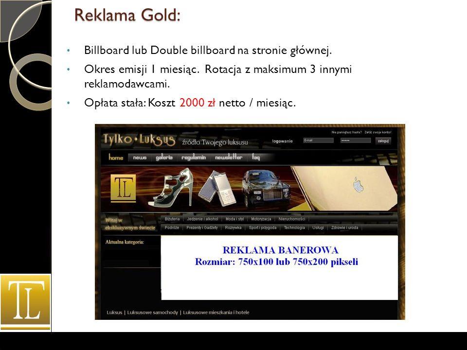 Reklama Gold: Billboard lub Double billboard na stronie głównej.
