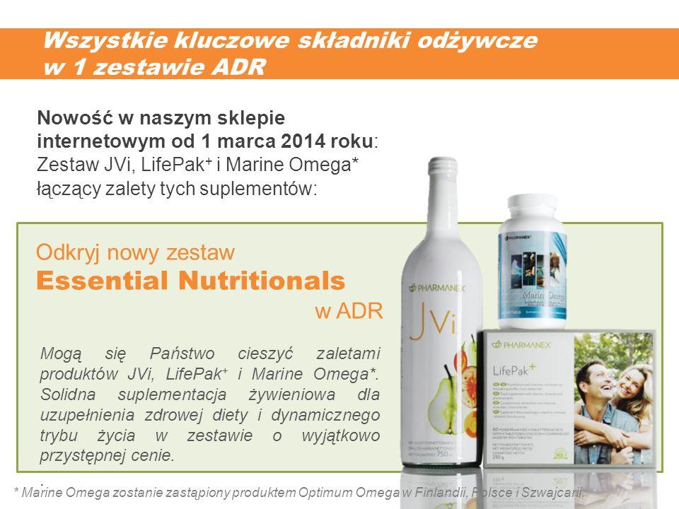 Wszystkie kluczowe składniki odżywcze w 1 zestawie ADR Mogą się Państwo cieszyć zaletami produktów JVi, LifePak + i Marine Omega*. Solidna suplementac
