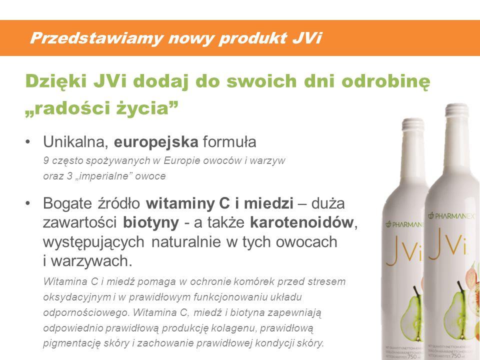 Przedstawiamy nowy produkt JVi Unikalna, europejska formuła 9 często spożywanych w Europie owoców i warzyw oraz 3 imperialne owoce Bogate źródło witam