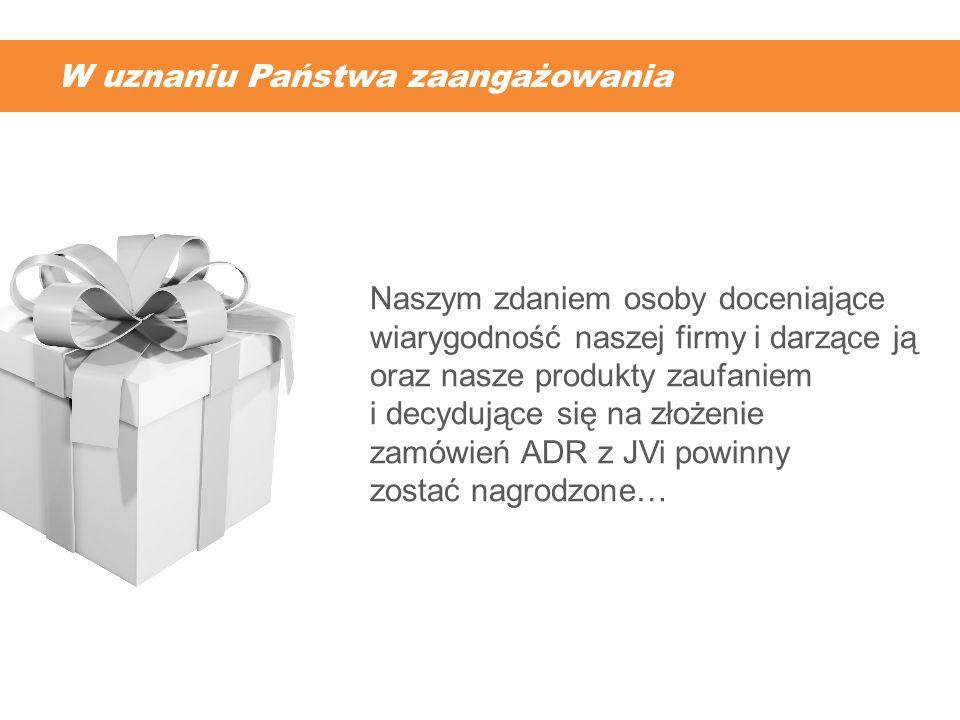 Za darmo markowe kieliszki do zamówień ADR.* Kieliszki o pojemności 60 ml.