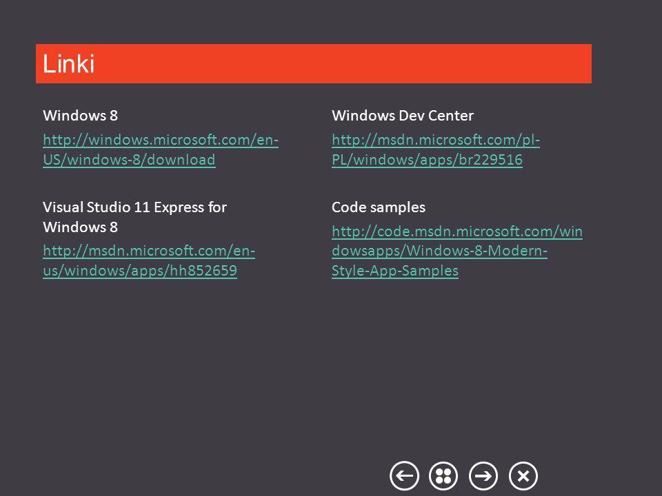 Windows Dev Center http://msdn.microsoft.com/pl- PL/windows/apps/br229516 Code samples http://code.msdn.microsoft.com/win dowsapps/Windows-8-Modern- S