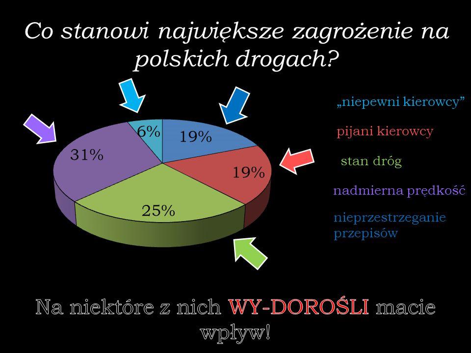 Co stanowi największe zagrożenie na polskich drogach? niepewni kierowcy pijani kierowcy stan dróg nadmierna prędkość nieprzestrzeganie przepisów