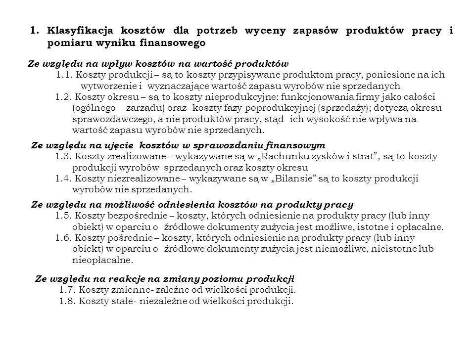1.Klasyfikacja kosztów dla potrzeb wyceny zapasów produktów pracy i pomiaru wyniku finansowego Ze względu na wpływ kosztów na wartość produktów 1.1. K