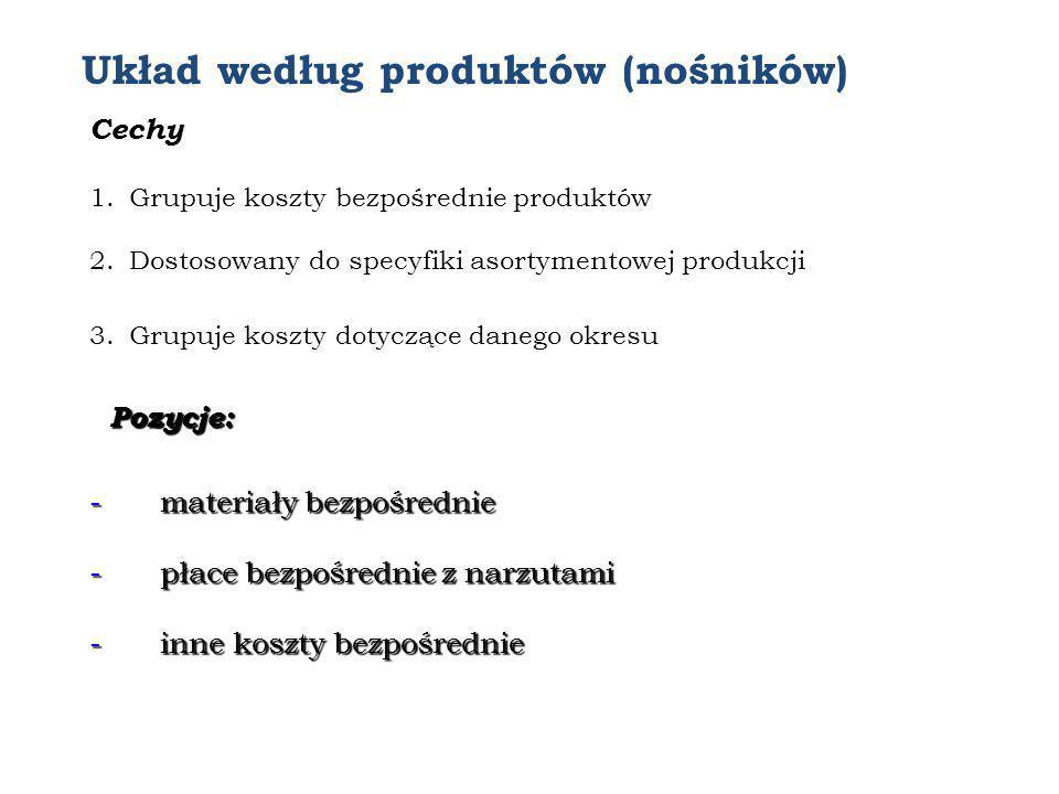Układ według produktów (nośników) Cechy 1.Grupuje koszty bezpośrednie produktów 2.Dostosowany do specyfiki asortymentowej produkcji 3.Grupuje koszty d