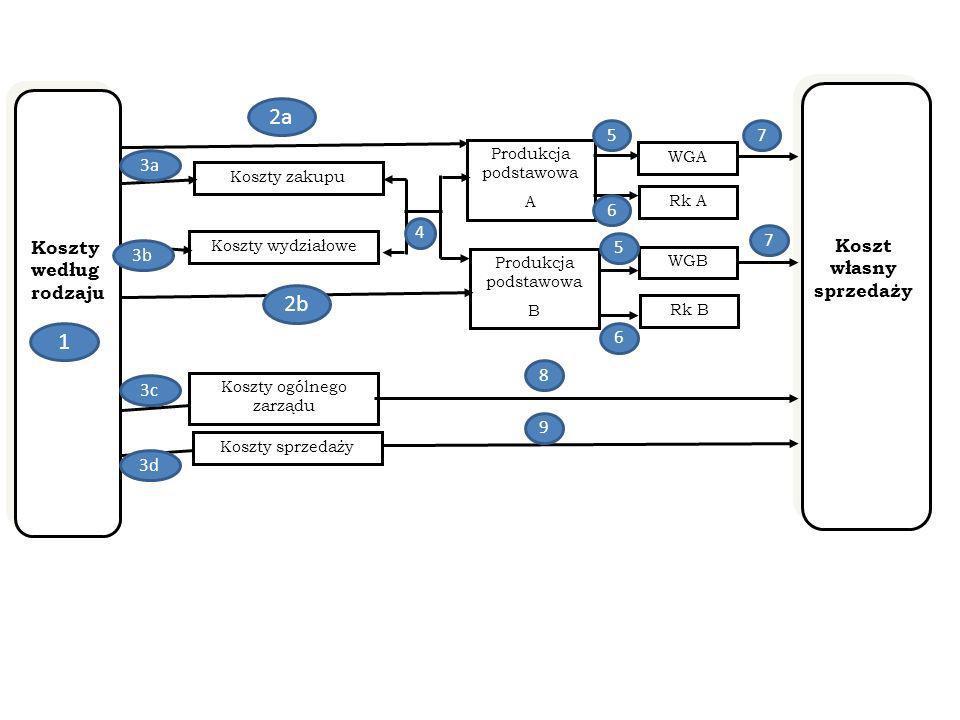 Koszty według rodzaju Koszty wydziałowe Koszty zakupu Koszty ogólnego zarządu Koszty sprzedaży Produkcja podstawowa A Produkcja podstawowa B WGA Rk A