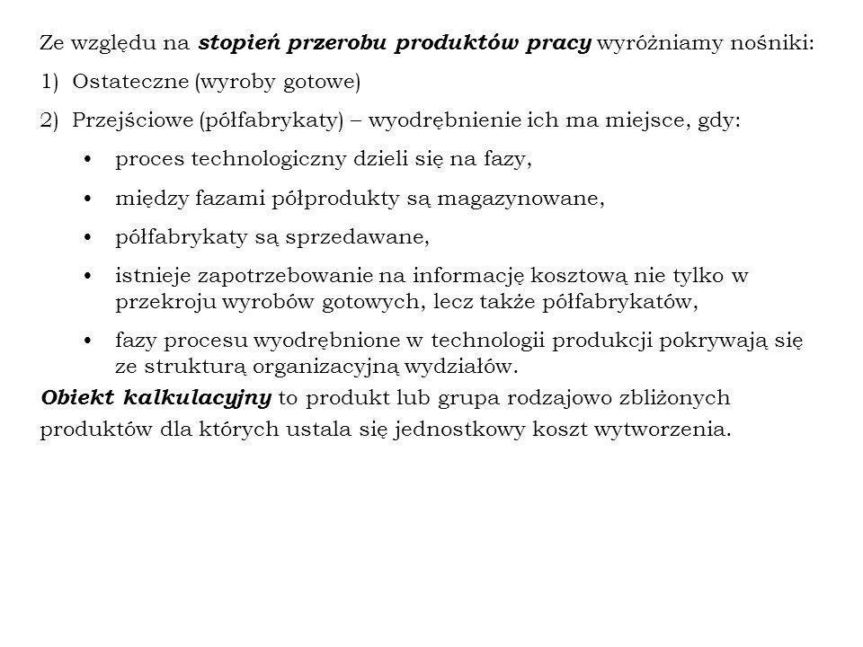 Ze względu na stopień przerobu produktów pracy wyróżniamy nośniki: 1)Ostateczne (wyroby gotowe) 2)Przejściowe (półfabrykaty) – wyodrębnienie ich ma mi