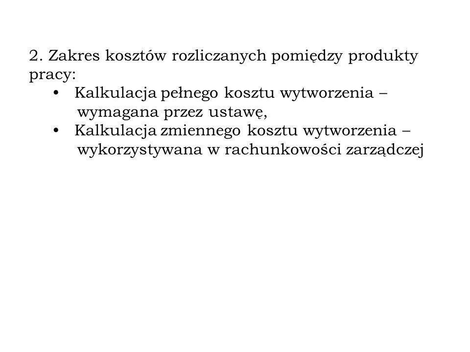 2. Zakres kosztów rozliczanych pomiędzy produkty pracy: Kalkulacja pełnego kosztu wytworzenia – wymagana przez ustawę, Kalkulacja zmiennego kosztu wyt